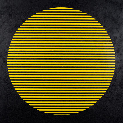 """Rico Gatson, Untitled (Sun), 2013, paint and glitter on wood panel, 47 7/8 x 48 inches. On view at """"The Promise of Light"""" at Ronald Feldman Fine Arts"""